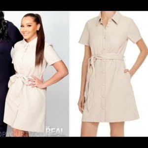 Blank NYC Faux Vegan Leather Belted Shirt Dress